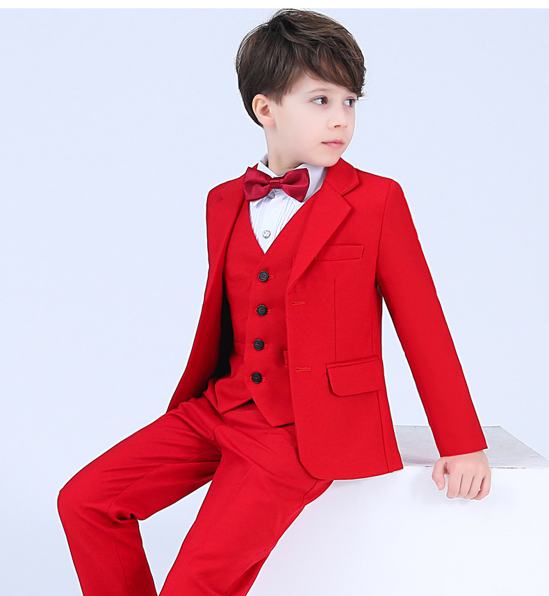 Red Boys blazers kids Boys suit for weddings Prom Suits party suit for Boys Kids tuxedo