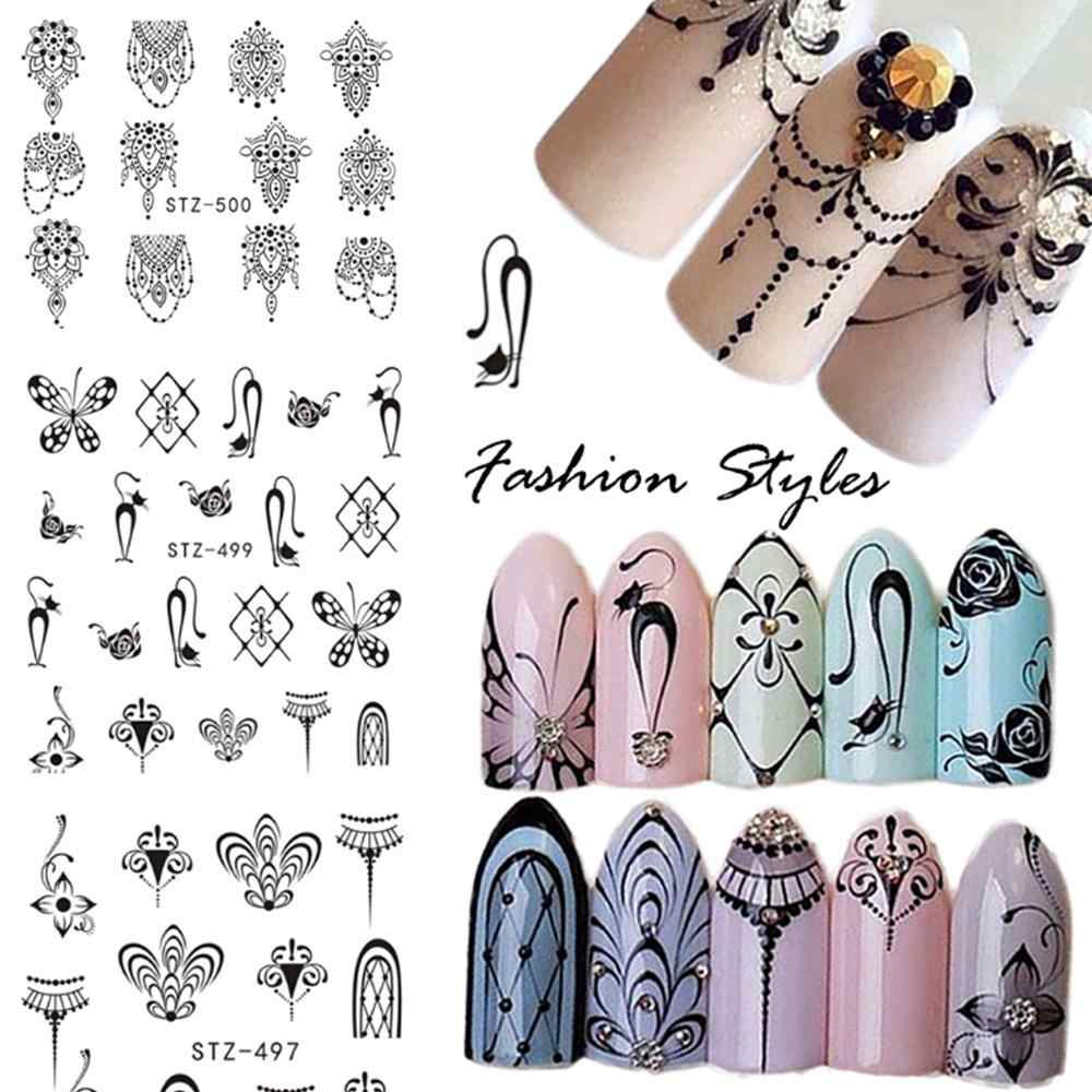 1 Sheets Hot Nail Sticker Black Necklace Jewelry Beauty Water Transfer Stamping Nail Art Tips Nail Decor Manicure Decal