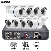 GADINAN 8CH Full 960H CCTV System Video Recorder Analog 1000TVL Outdoor Waterproof Bullet Security Camera Surveillance