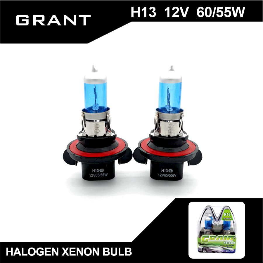 GRANT H13 9008 Halogen Bulbs 65/55W High/Low beams DC12V Xenon White Blue Plated Quartz Surface Auto Lamps For Ford Honda mazda