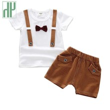 Toddler boy summer clothing sets Bow Gentleman T shirt + Pants suit children clothes girls Casual kids clothing boutique outfits недорого