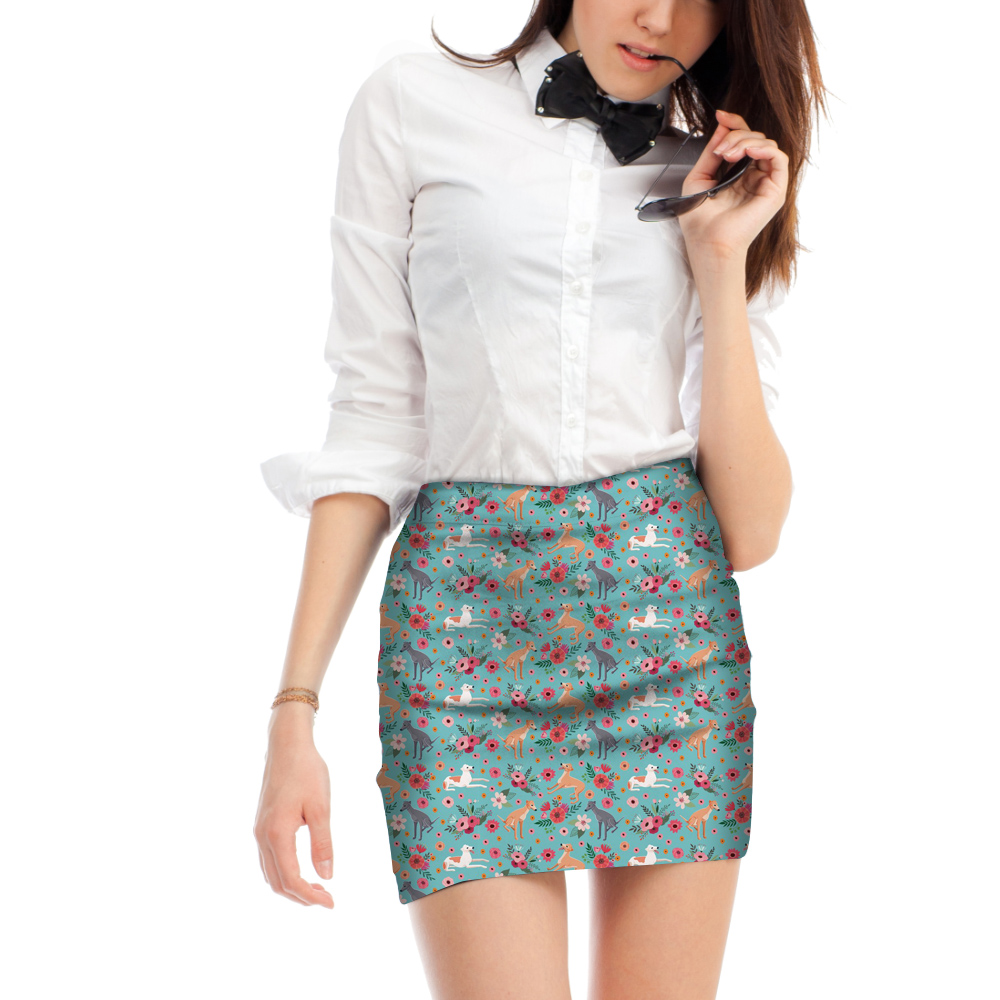 FORUDESIGNS Women Mini Sexy Skirts Cute Animal Greyhound Flowers Printing Female Short Pencil Skirts Elastic Breathable Bottoms
