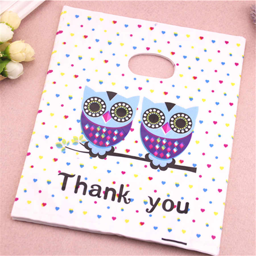 New Design Wholesale 100pcs/lot 20*25cm Luxury Owl Gift Packaging Bags Thank You Plastic Shopping Bags