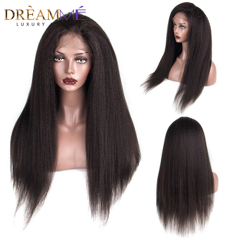 150% Density 360 Lace Frontal Wig Kinky Straight Hair Wig With Baby Hair Brazilian Lace Front Human Wig Dreaming Queen Remy Hair-in Human Hair Lace Wigs from Hair Extensions & Wigs    1