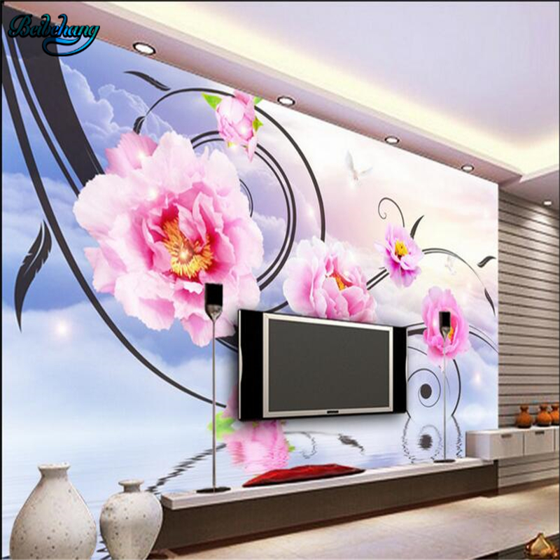 Online get cheap large mural wallpapers peony flowers for Cheap mural wallpaper