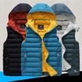 3 colores para hombre abrigo de invierno chaleco prendas de vestir exteriores masculino colete 2015 hombres de moda de con capucha chaleco 3XL envío gratis 30 días llegado RU BR