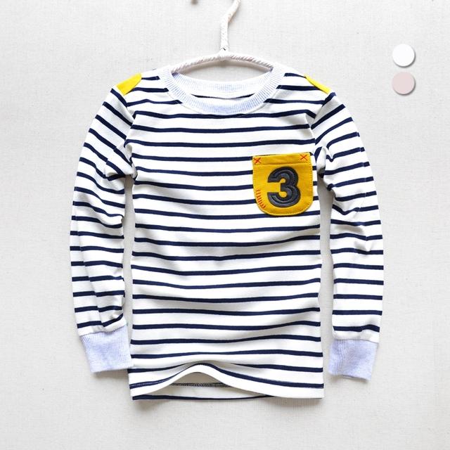 Camisa de Manga longa Listrada Meninos Primavera e Outono Roupas Crianças Coreano T-shirt 2 Cor