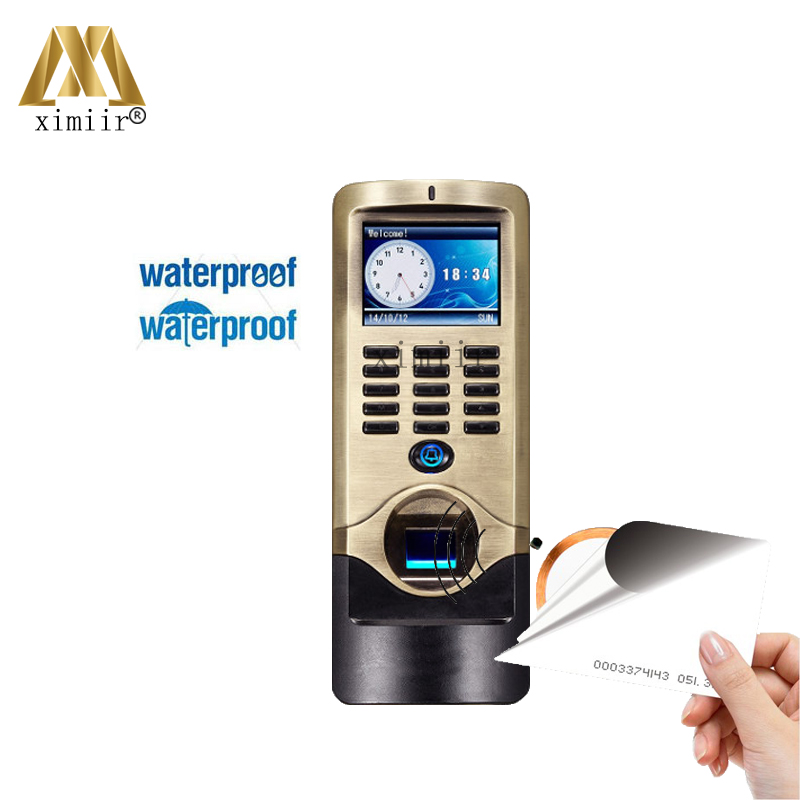 Outdoor Use IP64 Waterproof TCP/IP Color Screen Fingerprint And 125KHZ RFID Smart Card Time Attendance And Access Control System