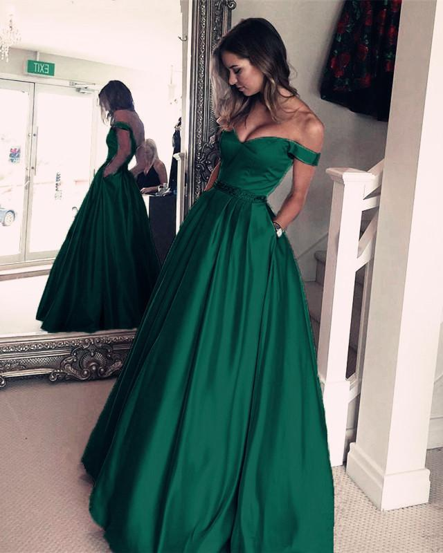 Hot Sale Prom Dresses 2019 V-Neck Dark Green Satin V-neck Dance Party Birthday Queue Long Dress Evening Dress Beaded Belt