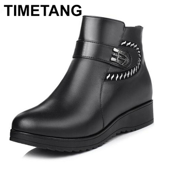 TIMETANG  Brand Shoes Woman Winter Boots 2018 Fashion Rhinestone Cow Leather Shoes Women Boots Wedge Plus Size Warm Snow Boots