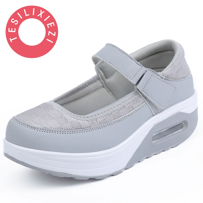 New Arrival Women Fashion Mesh Breathable Korean Style Shake Casual Fitness Hollow Shoes Nurse Thick soled Wedges Shoes Antiskid women s shoes net surface hollow out casual womens shoe 2017 summer new breathable thick soled white fashion woman women shoes