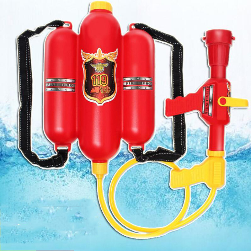 Summer Fire Backpack Water Gun Beach Game Toy Firefighter Backpack Water Gun Summer Vacation Beach Pull-Type Air Pressure Gun