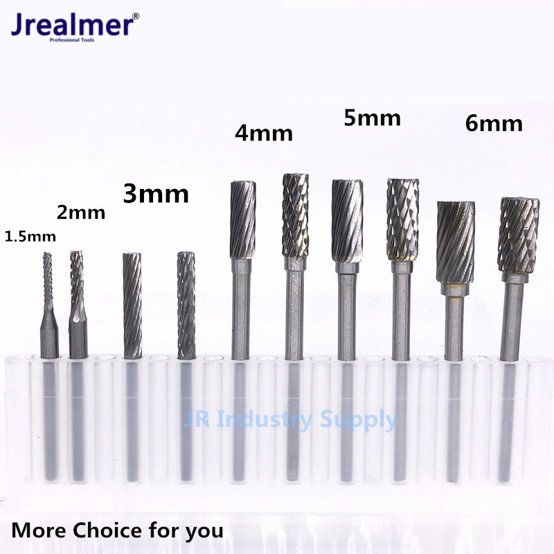 Jrealmer 1.5 to 6.0mm Tungsten Carbide Cylindrical Rotary Burrs Milling Cutter Tungsten Carbide Burr Dremel Tools Electric 10pcs 1 8 shank tungsten carbide milling cutter rotary burr double diamond cut rotary dremel tools electric grinding 6mm bits