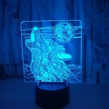 3D лампа с волком формы 7 цветов меняющийся ночной Светильник 3D настольный светильник светодиодный светильник домашний Декор подарок Прямая поставка