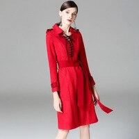 Yeni marka pist yüksek kalite kadın sonbahar kış elbise moda katı kalın İnce a-line drss
