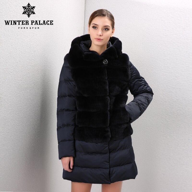 Chaud épais De Fourrure de lapin manteau de fourrure d'hiver femmes réel fourrure de lapin rex veste De Mode style rex lapin manteau Vers Le Bas veste style