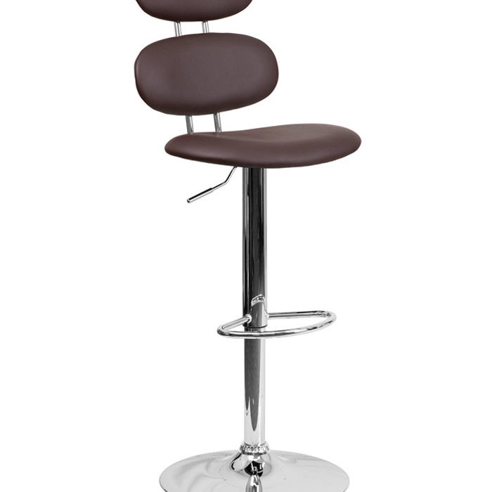 Flash Furniture Contemporary Brown Vinyl Adjustable Height Barstool with Footrest Chrome ...