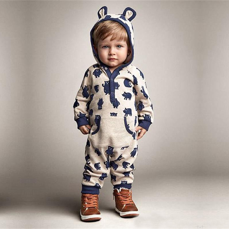 Newborn Baby Boys Rompers Spring Girls Cartoon Bear Clothing Set Long Sleeve Cotton Infant Hoodies Clothes Babies Jumpsuits baby rompers 2016 spring autumn style overalls star printing cotton newborn baby boys girls clothes long sleeve hooded outfits