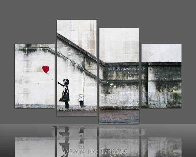 4 шт. современный дом стены декоративные бэнкси всегда есть надежда Wall Art Картина печатается Живопись маслом на холсте печать/PT0436