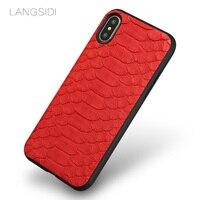 Natural Python Leather Phone Case For Xiaomi Redmi K20 Pro Note 7 6 5 Plus 4X 7A Cover For Mi 9 9T PRO 9 SE 8 8 SE 8 Lite A2
