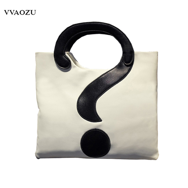 New Harajuku Women Pu Shoulder Bags Question Mark Design Handbag Patchwork Messenger Crossbody Handbags