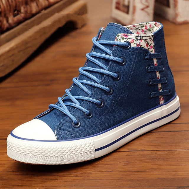 94caebede479 Floral Denim Shoes for Women 2019 Spring Fall High Top Canvas Shoes Woman  Casual Trainers Side Bandage Sneakers Ladies