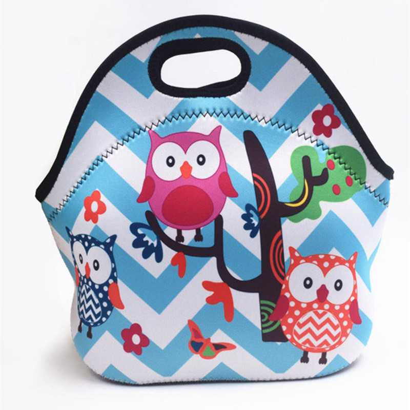 Thermal Insulated Print Neoprene Lunch font b Bag b font for Women Kids Lunch font b