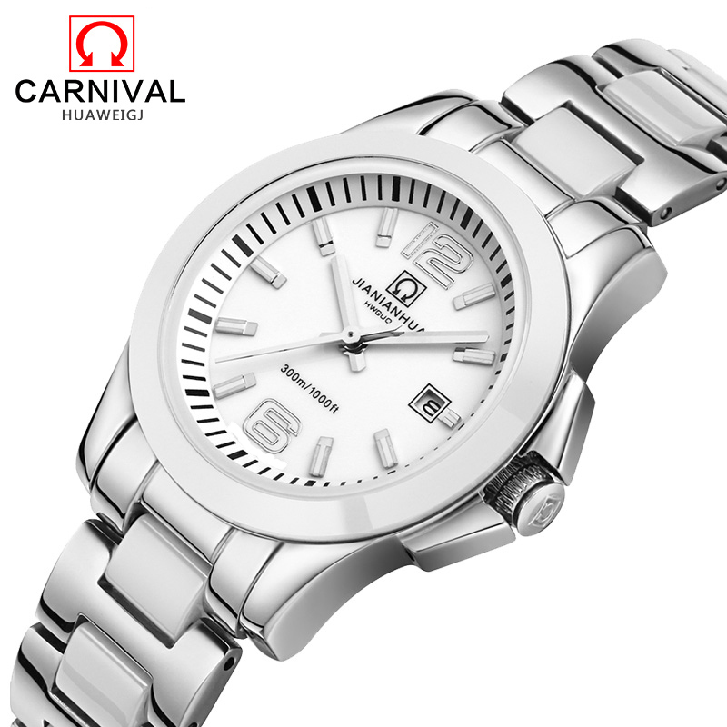 цена на Carnival Fashion Lovers' Automatic Mechanical Watches Mens Multifunction Waterproof Women Watch Stainless Steel Couple saat