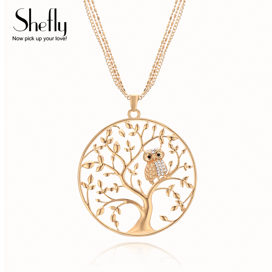 Owl Necklace Women 2018 Fashion Tree Of Life Joyas de oro Cadena de plata Collares y colgantes largos Collier Femme