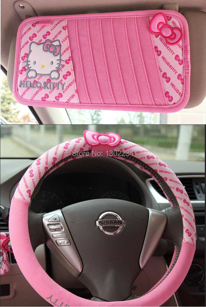 2pcs Car Covers Rearview Mirror Set 2015 Hot Sale Pink Cartoon Hello Kitty Steering Wheel Cover