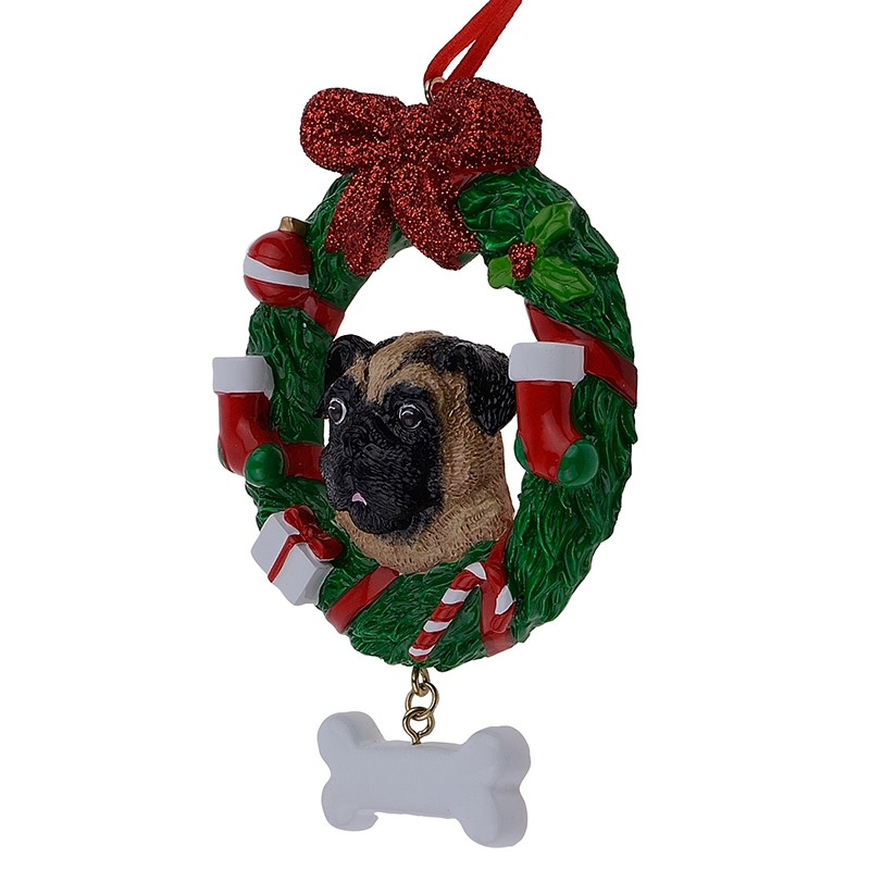 maxora yellow pug dog resin crafts shiny personalized christmas ornament hand painted for pug owners gifts or home decor in pendant drop ornaments from