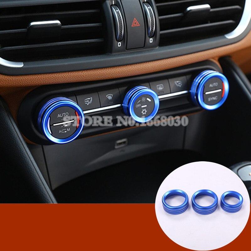 Blue Colour Inner Air Condition Knob Trim Cover 3pcs For
