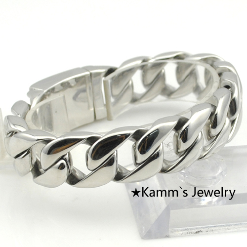 A penny stock!!!17m Width Glossy Assurance Quality Polished 2015 Hand Chain Bracelet Silver 316L Stainless Steel Women Men KB684