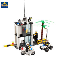 KAZI Police Command Center Building Blocks Construction Bricks DIY Police Toy Set for Kid Jouet Bois Construction Bloc