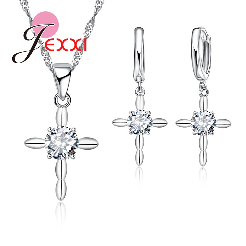 Jewelry-Sets Earring Pendant Necklace Wedding-Accessory Crystal Cubic-Zirconia Fashion