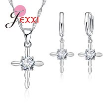 Fashion Women Jewelry Sets For Wedding Accessory Round Cubic Zirconia Crystal Pendant Necklace Hoop Earring Jewellery Set(China)