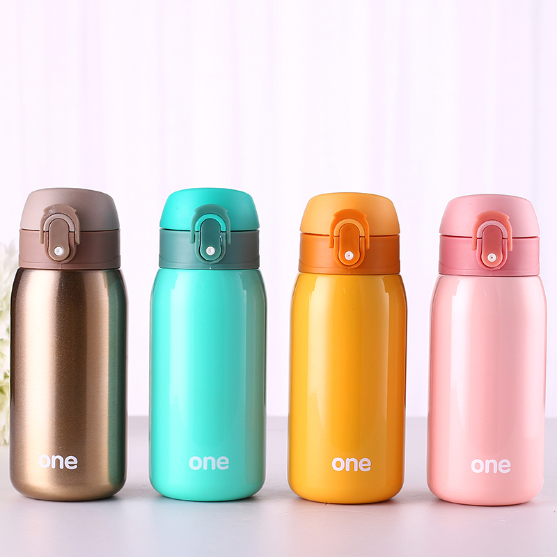 320ML Cute Girls Stainless Steel <font><b>Baby</b></font> Feeding Thermal Cup Vacuum Flask Kids Travel Hot Water Bottle Leak-<font><b>poof</b></font> Insulated Cup image