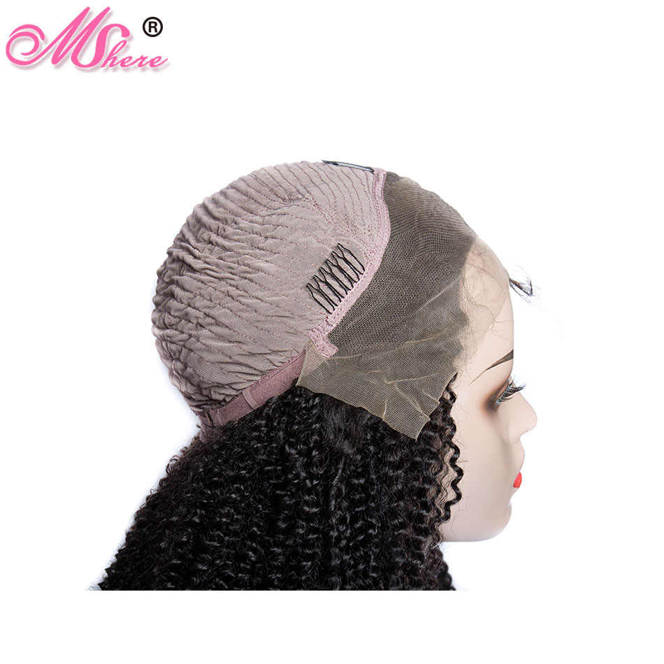 13x4 Mshere человеческие волосы на кружеве парики для женщин бразильский афро кудрявый парик 130% remy волосы предварительно сорванные человеческие волосы парики