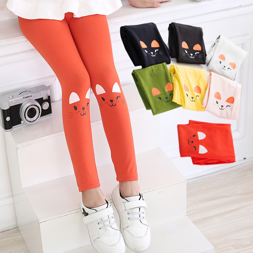 Spring Autumn Toddler Baby Girls Skinny Pants Warm Leggings Girl Cats Pattern Stretchy Pants Kids Leggings Pants Sport Trousers girls leggings 2018 brand children leggings spring summer autumn print color skinny kids baby leggings for girls pants 18 colors