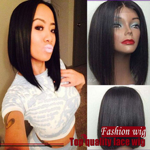 2016 Hot Sale Black Straight Short BOB Wig 100% Heat Resistant Fibre Synthetic Lace Front Wig for Black Women Free Shipping