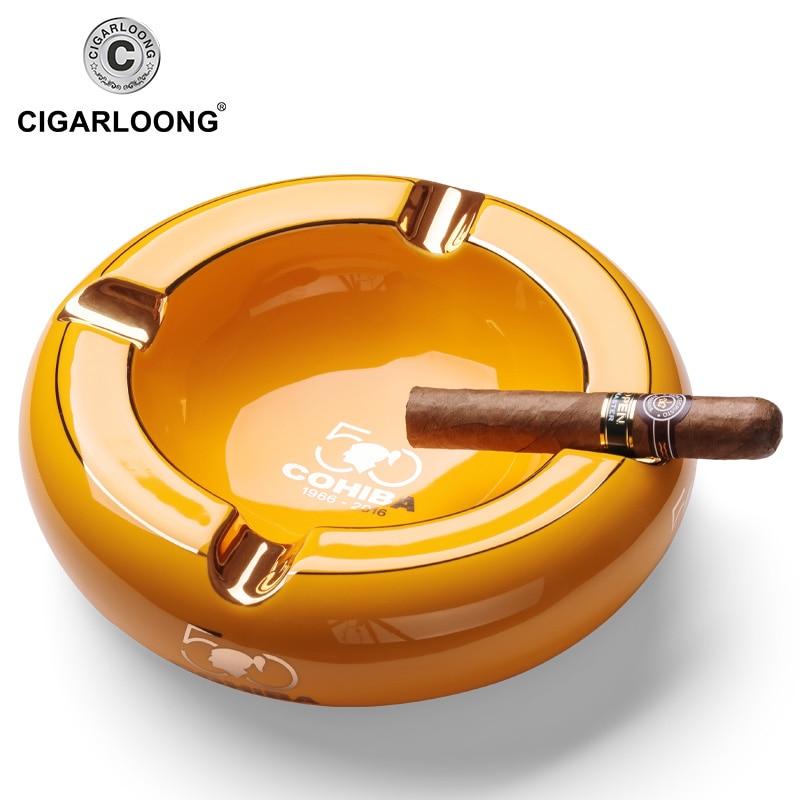COHIBA 4 Ashtrays in 1 Design Household Luxury Ceramic Cigar Ashtray Portable Home Cigarette Ashtray Outdoor Ashtray CLG 0094 in Cigar Accessories from Home Garden
