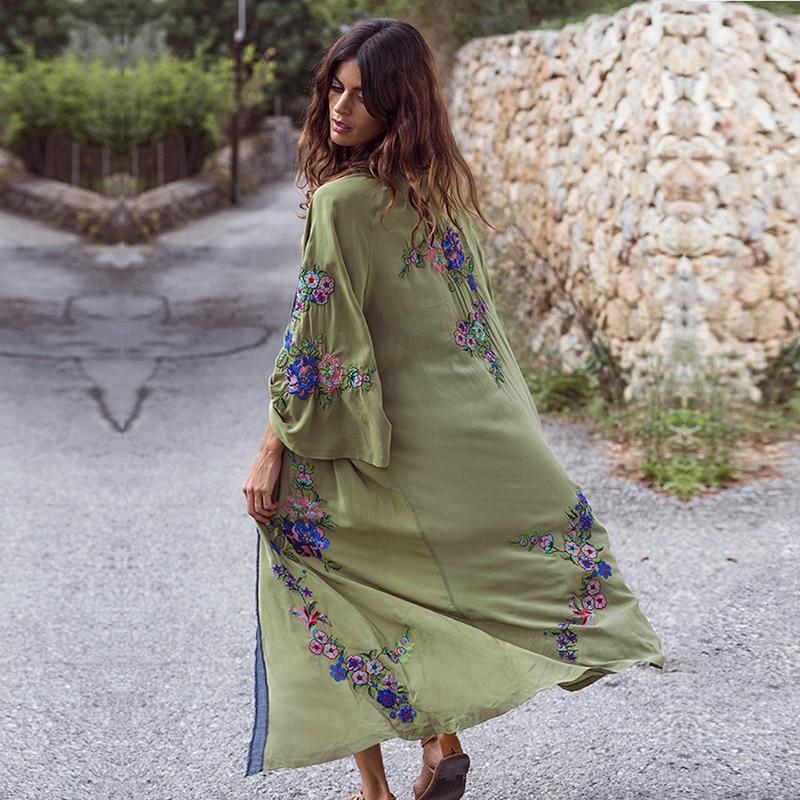 Été Floral brodé plage cache-Up Maxi robe Bishop à manches longues pour les femmes Vintage Boho lâche couverture longues robes