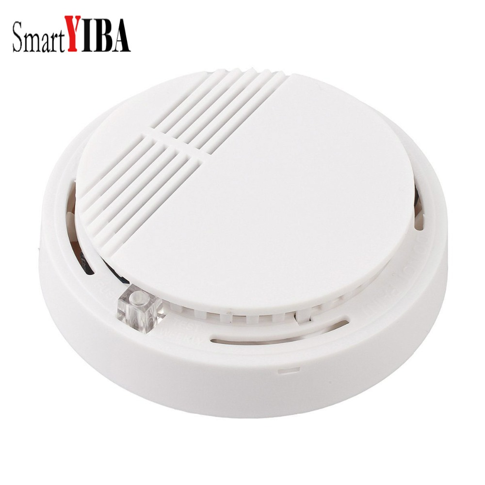 SmartYIBA High Sensitivity Photoelectric Smoke Detector Fire Alarm Sensor for Home Security Independent Smoke Sensor White white wireless smoke detector home security fire alarm sensor system cordless white photoelectric cordless detect