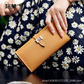 JF-U High Quality Leather Women Wallet Solid Zipper wallet Purse multiple cards holder Clutch For Girls Women Standard Wallet