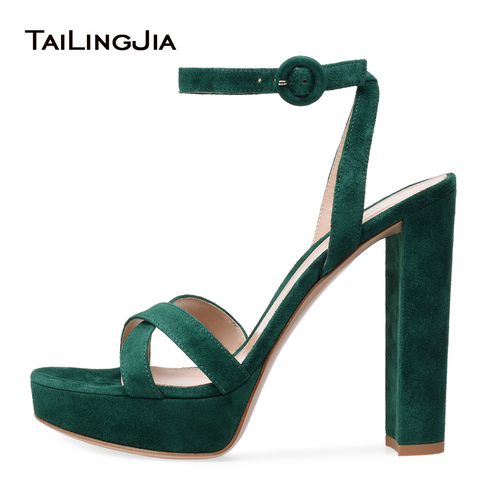 Open Toe Platform High Heel Green Faux Suede Sandals for Women Pink Evening Dress Heels White PU Chunky Heel Summer Shoes 2018 crossback faux suede cami dress