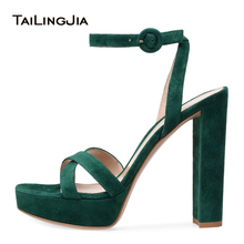 цена на Open Toe Platform High Heel Green Faux Suede Sandals for Women Pink Evening Dress Heels White PU Chunky Heel Summer Shoes 2018