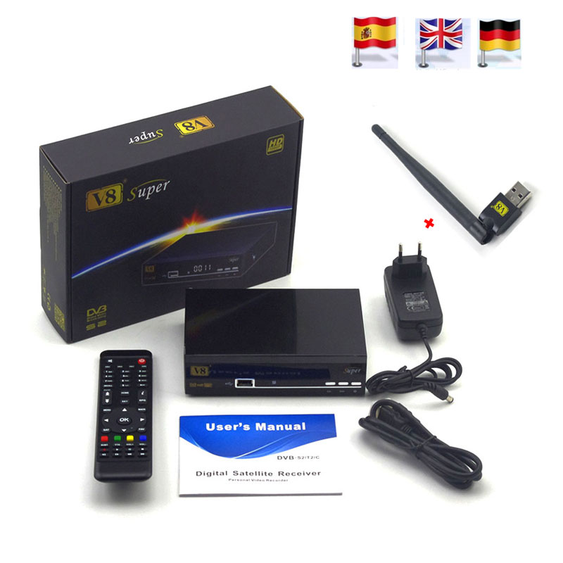 3pcs FREESAT V8 super DVB S2 Satellite Receiver FTA HD 1080P internet sharing support clines newcam