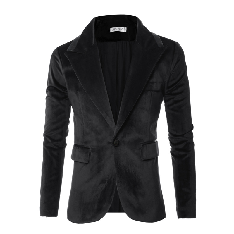 New Wedding Softsuit Men's Glossy Design Suede Warm Thermal Buckle Dress  Brand Blazers Fashion Dropshipping Casual Top Coat