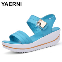 YAERNI Summer Women Sandals platform heel Leather hook loop metal Soft comfortable Wedge shoes ladies casual sandals white blue