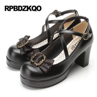 Round Platform Pumps Cute Size 4 34 Cross Strap Shoes Lolita Ladies Black 3 Inch Bow Wine Red Thick High Heels Toe 2017 Closed